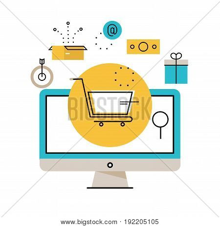 Online shopping, online order and payment, e-commerce, purchasing online, delivery process vector illustration design for mobile and web graphics