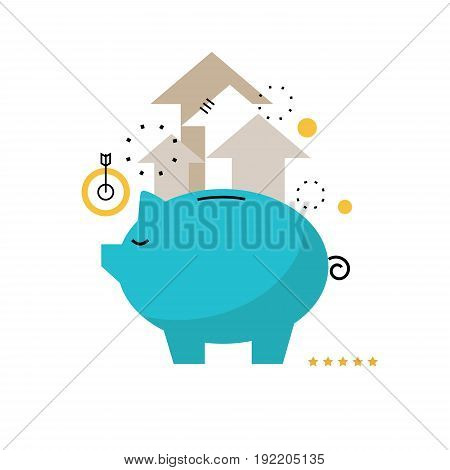Piggy bank concept, financial investment, budget management, savings account, deposit, pension fund money, financial planning flat vector illustration design for mobile and web graphics