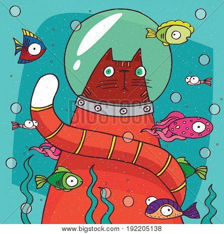 Cat In Diving Suit On The Bottom Of Aquarium