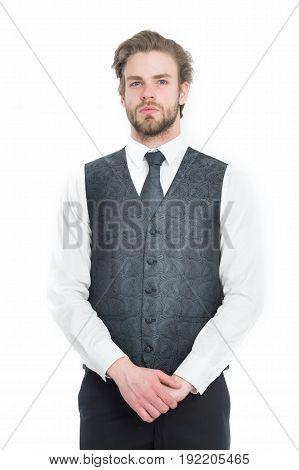 Bearded Man Or Serious Gentleman In Waistcoat And Tie