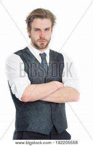 Businessman, Bearded Man Or Serious Gentleman In Waistcoat And Tie