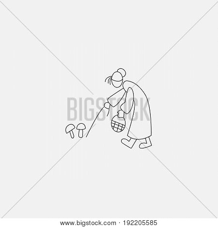 Stick fiure old woman picking musrooms vector