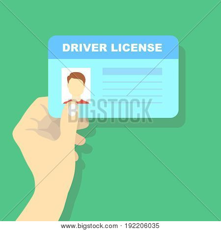Hand holding car driving licence, id card vector illustration