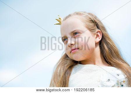 Portrait Of A Lovely Little Happy Princess Girl