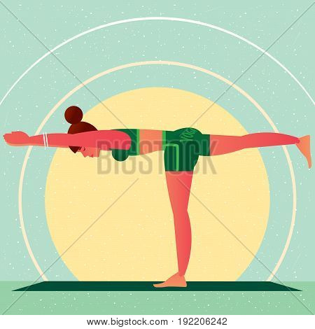Girl In The Yoga Warrior Pose Or Virabhadrasana