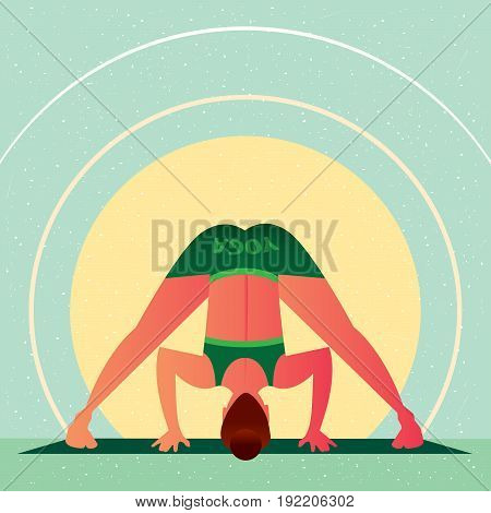 Girl In Yoga Wide Angle Standing Forward Bend