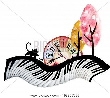 Abstract watercolor art hand painting of black cat , mouse , big clock and cute tree on piano keyboard