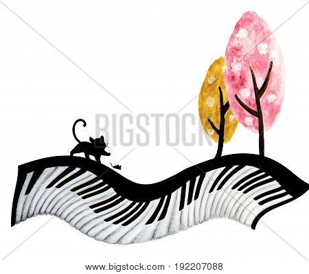Abstract watercolor art hand painting of black cat , mouse and cute tree on piano keyboard