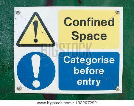 Confined Space Categorise Before Entry Sign Board On Box