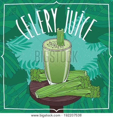 Healthy Fresh Celery Juice With Vegetable Stalks