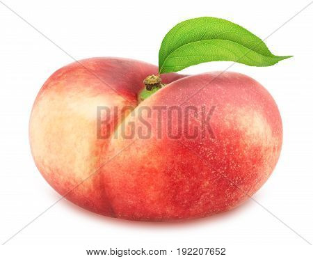 Flat nectarine with leaf isolated on white. Full depth of field.