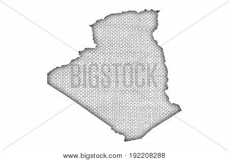 Map Of Algeria On Old Linen