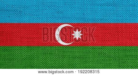 Colorful and crisp image of flag of Azerbaijanon old linen