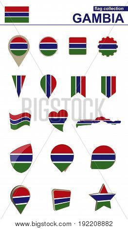 Gambia Flag Collection. Big Set For Design.