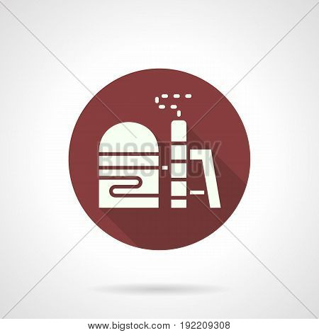 Abstract white silhouette symbol of industrial building with tower, pipe, smog. Environmental pollutions from industry. Round flat design burgundy vector icon.