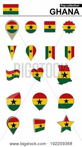 Ghana Flag Collection. Big Set For Design.