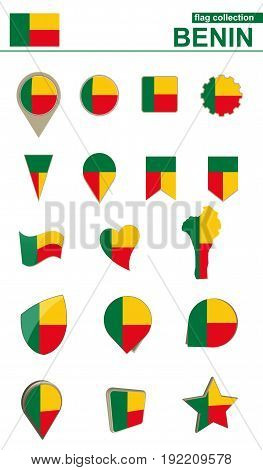 Benin Flag Collection. Big Set For Design.