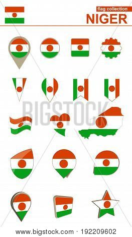 Niger Flag Collection. Big Set For Design.