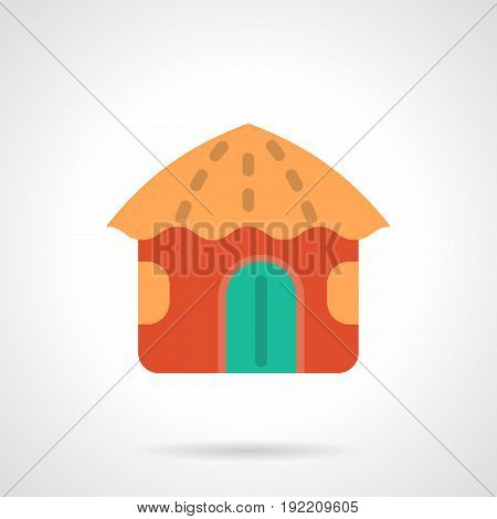 Symbol of bright red beach hut. Seacoast or island buildings. Summertime vacations service. Flat color style vector icon.