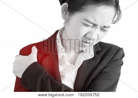 Painful Shoulder In A Businesswoman Isolated On White Background. Clipping Path On White Background.