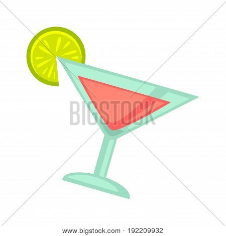 Pink cocktail in martini glass with green lime slice isolated on white. Vector illustration in flat design of close up dishware type for drinking cooling beverages on parties or other occasions