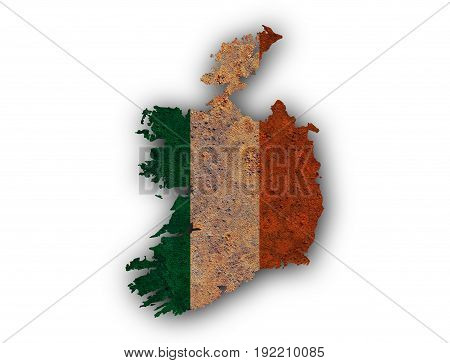 Map And Flag Of Ireland On Rusty Metal