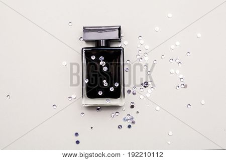 stylish black Perfume bottle over white background
