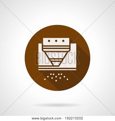 Abstract white silhouette symbol of CNC laser for steel sheet processing. Industrial modern technology. Round flat design brown vector icon.