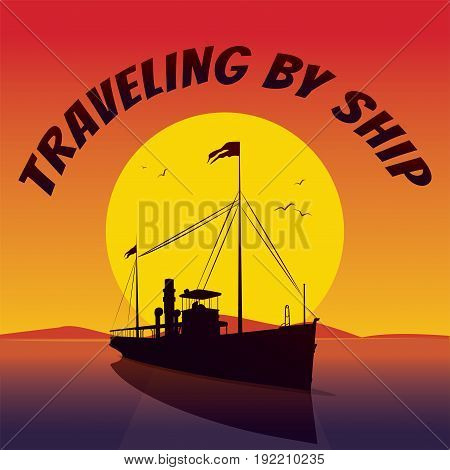Silhouette Of Cruise Ship, Sails At Sunset