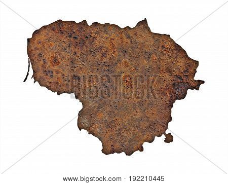 Map Of Lithuania On Rusty Metal