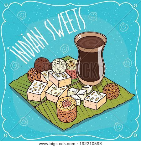 Traditional Indian Sweets And Masala Chai Tea