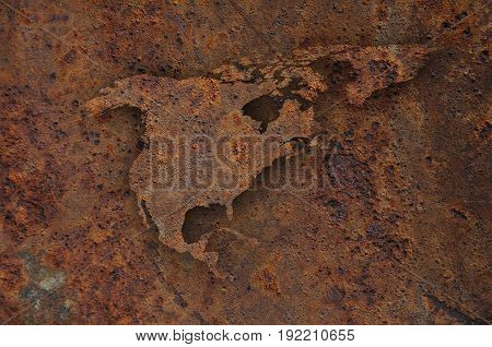 Map Of North America On Rusty Metal