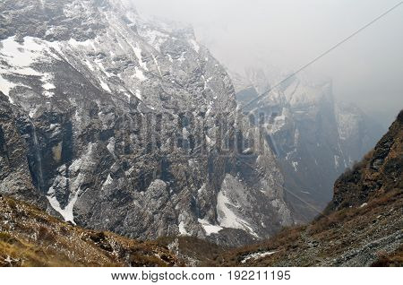 Mountain Landscape in Himalaya. Snowy wall, Nepal, Annapurna Base Camp Track.