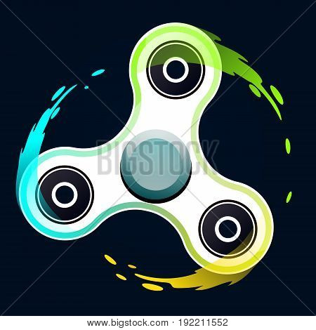 Vector Illustration Of Realistic White Fidget Spinner With Colorful Splash Trace Of Rotation. Creati