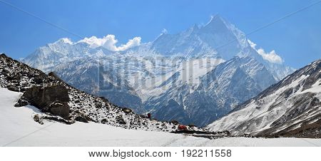 Panoramic Mountain Landscape in Himalaya. View to Machapuchare Top, Fish Tail Peak. Nepal. Annapurna Base Camp Track.