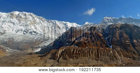Panoramic Mountain Landscape in Himalaya. View from Annapurna Base Camp, Nepal.