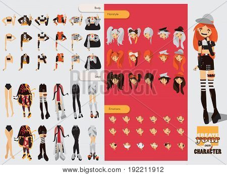 Constructor with spare parts for lovely visual kei girl. Different hairstyles emotions accessories posing for hands and legs positions. Creative collection with subculture lolly style gothic.