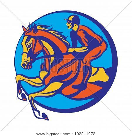 Vector illustration, color illustration horse riding, riding horse with jockey