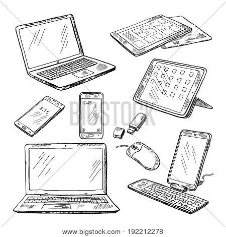 Doodle illustrations of different devices laptop, smartphone, tablet, pc and other. Vector pictures set of device laptop and smartphone