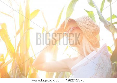 Woman looking away while holding map amidst plants on sunny day