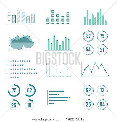 Linear charts, graphs and progress bar. Vector line diagram. Infographics ellements. Visualization infochart and infographic linear illustration