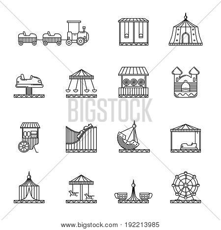 Amusement, circus and carousel linear vector icon set. Attraction and carousel, illustration of funfair performance