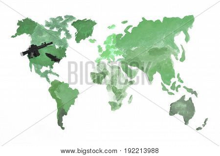 The World Map Is Made With Colored Watercolor Paints On White Paper With The Participation Of A Blac