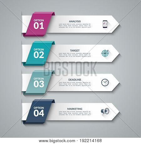 Modern infographic arrows. Vector design template of 4 options, steps, parts. Can be used for workflow layout, diagram, step by step infographics, graph chart, diagram, web design.