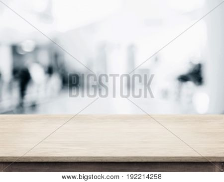 Empty Wood Table Top With Abstract Blur Background With Bokeh Light,mock Up For Display Of Product