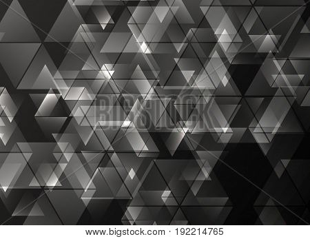 Black and white geometric background with triangles, Vector illustration EPS10