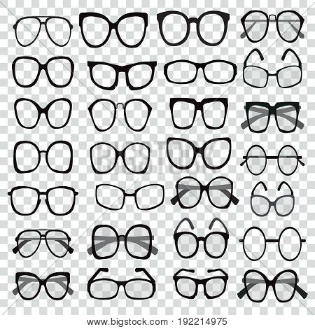 et of custom glasses isolated. Glasses model icons. Sunglasses eyeglasses silhouettes. Different shapes frame styles. Set of various custom glasses isolated.