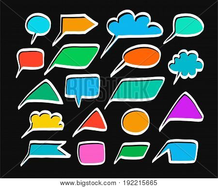 Message, frame, cloud, color, vector, black background. Colored frame on black background. White outline is offset to the side.