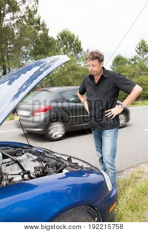 Handsome Man Have Trouble With Break Down Car On Road
