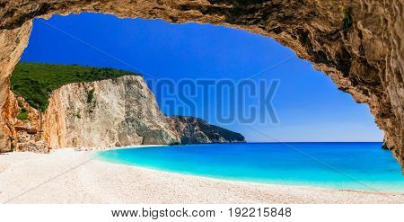 Most beautiful beaches of Greece series - Porto Katsiki in Lefkad island, view from cave